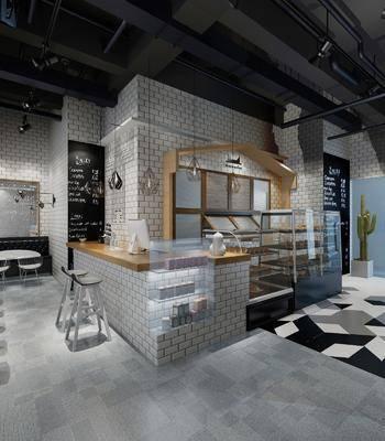 蛋糕店, 展柜, 桌椅组合, 单椅, 吧台
