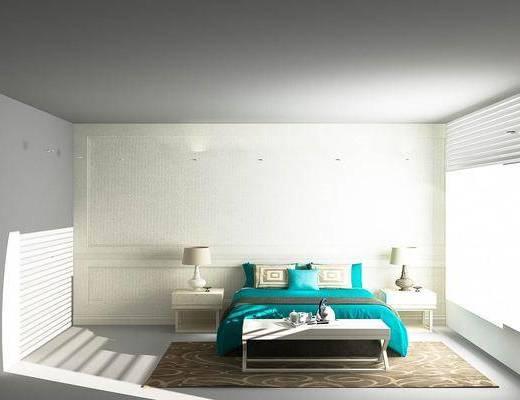 双人床, 床头柜, 台灯, 床尾凳, 欧式