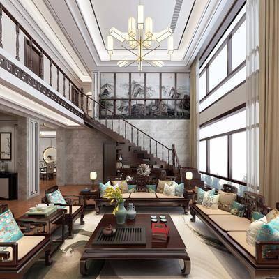 中式, 别墅, 中式客厅, 中式餐厅, 中式全景模型, 吊灯, 中式沙发