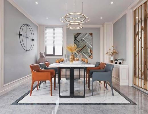 沙發組合, 擺件組合, 茶幾, 單椅, 裝飾畫, 落地燈, 餐桌, 餐具組合