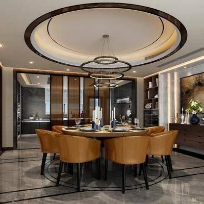 餐厅, 餐桌, 餐椅, 摆件, 边柜, 吊灯, 装饰画, 装饰柜, 现代