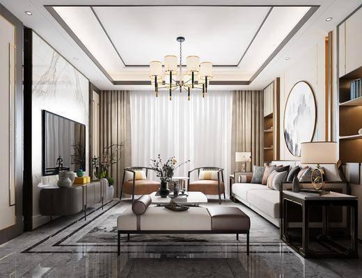 客厅, 多人沙发, 茶几, 边几, 台灯, 圆框画, 装饰画, 躺椅, 单人沙发, 吊灯, 电视柜, 边柜, 摆件, 装饰品, 陈设品, 新中式