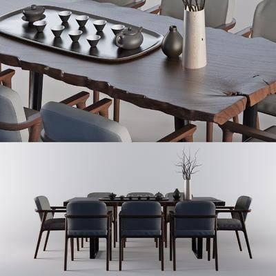 新中式现代餐桌3D模型, 餐桌, 茶具, 摆件组合, 桌椅组合