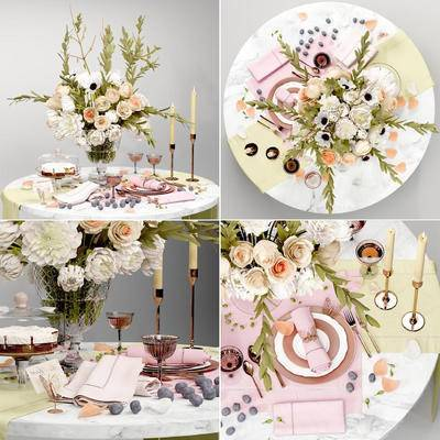 餐桌, 刀叉, 碗碟杯, 餐具, 藏布, 花瓶, 花卉, 水果, 蛋糕, 食物, 现代餐桌刀叉碗碟杯餐具藏布花瓶花卉水果蛋糕食物组合