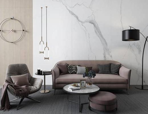 沙发组合, 布艺沙发, 吊灯, 落地灯, 墙饰