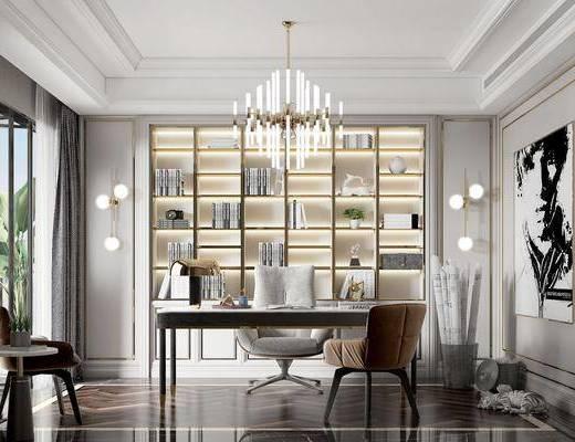 书桌, 书架, 桌椅组合, 吊灯, 装饰画