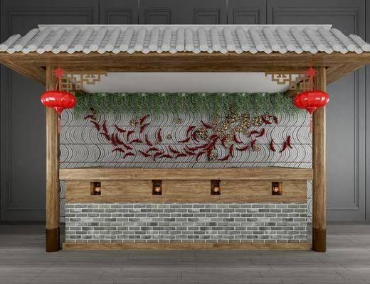 前台, 接待台, 收银台, 吧台, 背景墙组合, 吊灯, 中式