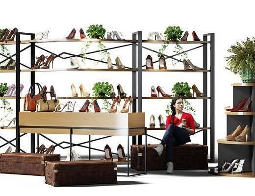 鞋柜, 高跟鞋, 鞋子, 植物, 盆栽, 展示柜, 沙发凳, 人偶, 人, 现代