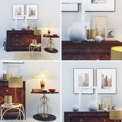 现代, 端景台, 边几, 挂画, 装饰品, 台灯, 画框