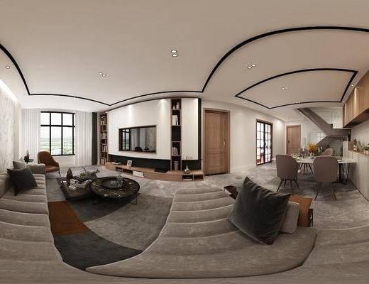 家装全景, 客厅, 餐厅, 多人沙发, 转角沙发, 布艺沙发, 餐桌, 餐椅, 单人椅, 餐具, 装饰画, 挂画, 边柜, 电视柜, 现代