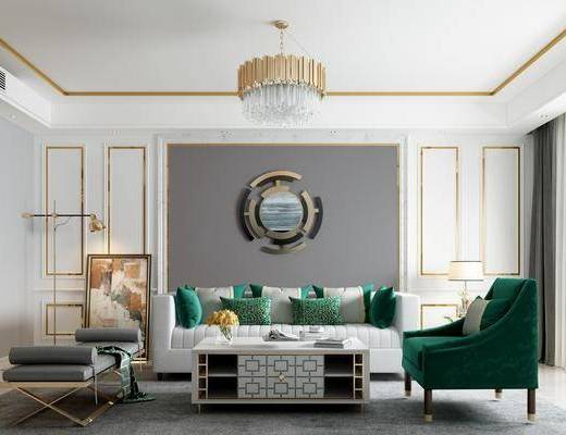 现代沙发茶几, 轻奢沙发茶几, 吊灯, 镜子, 墙饰, 边柜, 台灯, 装饰画