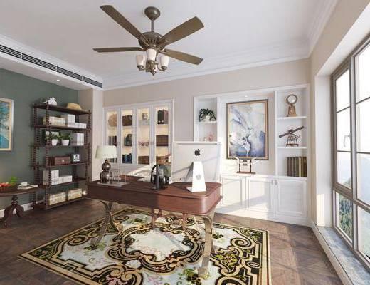 美式书房, 美式书柜, 桌子, 椅子, 吊灯, 书架