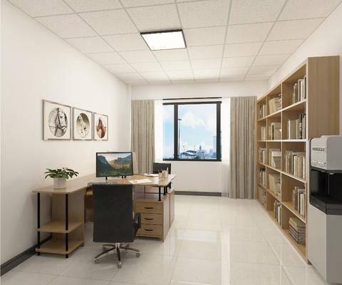 办公室, 办公桌, 装饰画, 文件柜