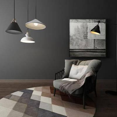 现代单椅吊灯落地灯组合, 椅子, 单椅, 吊灯, 现代