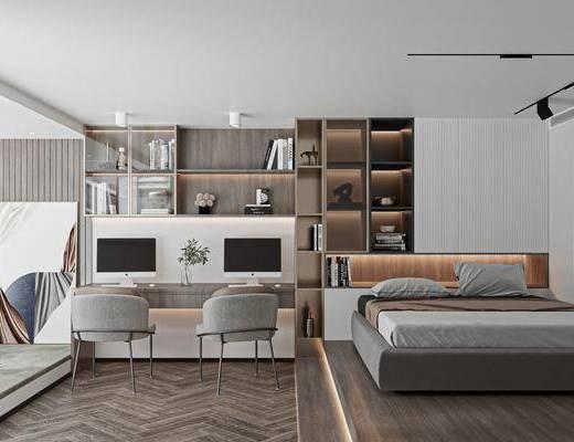 单人床, 电脑桌, 书柜, 装饰画, 书籍