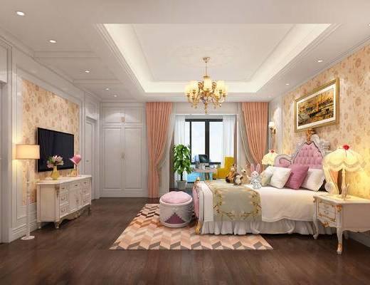 小孩房, 吊灯, 床头柜, 电视柜, 地毯, 台灯, 装饰画