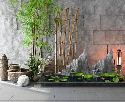 流水, 竹子, 荷叶, 景观小品, 假山