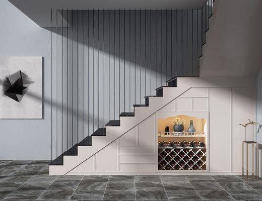 实木楼梯, 装饰柜, 酒瓶, 装饰画, 楼梯组合, 现代