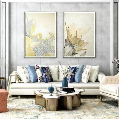 简欧沙发椅子, 金属壁饰, 金属茶几, 欧式沙发, 挂画, 花瓶摆件, 陈设品, 新古典