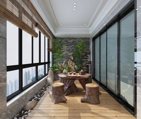 木墩, 茶几, 桌椅组合, 绿植墙, 茶具组合