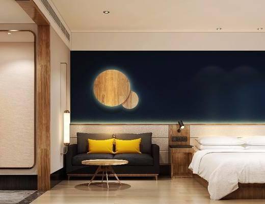 酒店客房, 北欧酒店客房, 床具, 双人床, 沙发组合, 茶几, 边几, 墙饰, 北欧