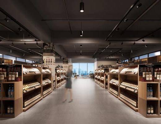 酒窖, 酒柜, 装饰柜, 装饰品, 陈设品, 人物, 多人沙发, 茶几, 单人沙发, 工业风