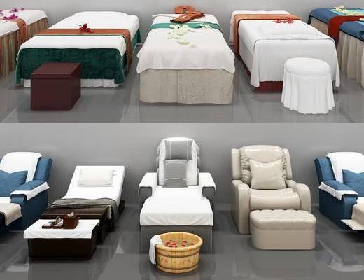 spa床, 按摩椅组合, 现代