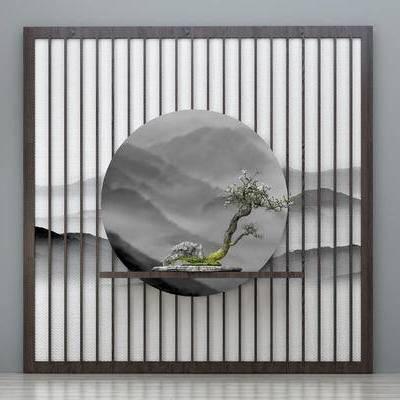 新中式背景墙, 端景台, 盆景, 墙饰, 玄关背景墙, 植物, 装饰品摆件