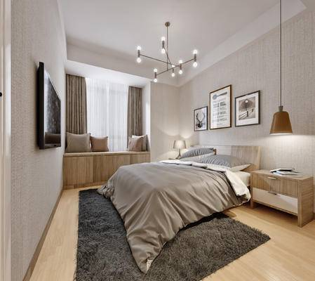 北欧, 卧室, 床具, 双人床, 床头柜, 矮柜, 吊灯, 摆件, 装饰品, 挂画, 装饰画, 台灯, 飘窗, 抱枕