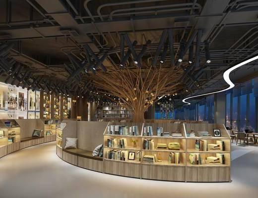 景观植物, 书柜, 书籍, 沙发组合