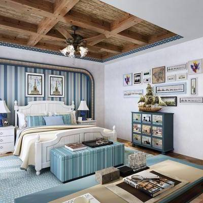 儿童房, 卧室, 床, 浴室, 边柜, 装饰柜, 床头柜, 台灯