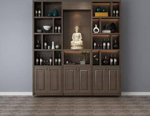 酒柜, 装饰柜, 酒瓶组合, 现代