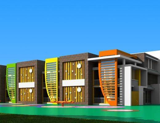 现代幼儿园, 幼儿园, 室外建筑