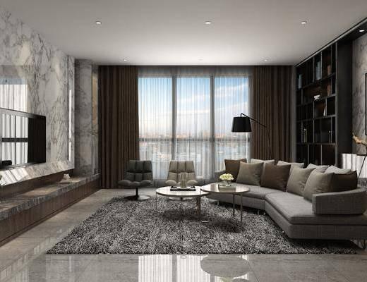 客厅, 多人沙发, 圆弧沙发, 茶几, 单人沙发, 装饰柜, 落地灯, 装饰画, 挂画, 摆件组合, 后现代