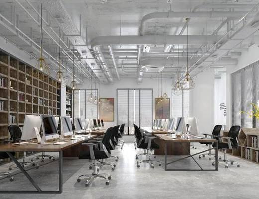 现代办公室, 办公台, 办公椅, 书架, 通风管, 吊灯, 现代