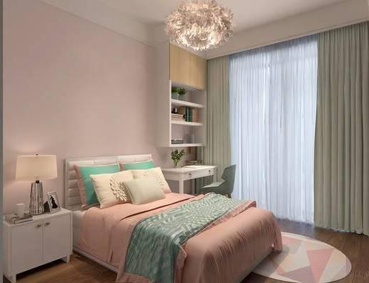 现代卧室, 卧室, 床, 书桌, 书柜, 椅子, 床头柜, 吊灯