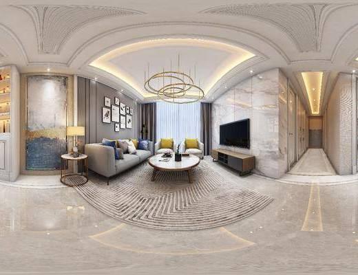 沙发组合, 茶几, 电视柜, 吊灯, 墙饰