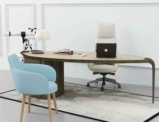 办公桌, 单人椅, 办公椅, 休闲椅, 轮滑椅, 茶几, 电脑, 摆件, 北欧