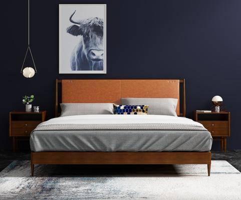卧室, 双人床, 床头柜, 吊灯, 装饰画, 挂画, 台灯, 皮革床, 现代