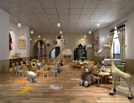 幼儿园教室, 幼儿园活动室, 幼儿园多功能室, 玩具, 儿童桌椅, 儿童书架, 儿童吊灯
