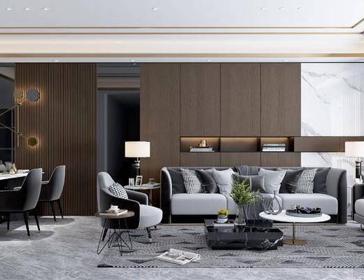 沙发组合, 茶几, 单椅, 边几, 台灯, 餐桌