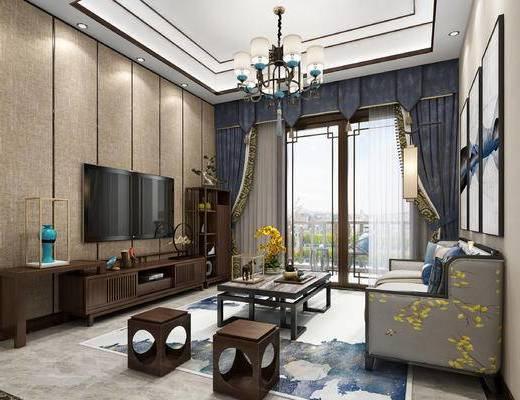 新中式会客厅, 吊灯, 多人沙发, 窗帘, 电视柜组合, 独凳, 挂画