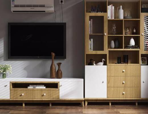 电视柜, 装饰柜, 北欧装饰柜, 北欧电视柜, 摆件, 置物柜, 装饰品, 书籍, 北欧