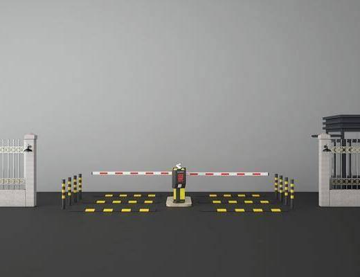 大门门禁, 围栏, 栏杆, 吊灯, 现代