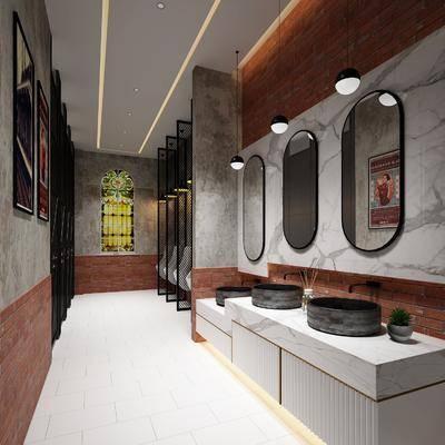 卫生间, 洗手台, 装饰镜, 小便池, 洗手盆, 装饰画, 组合画, 工业风