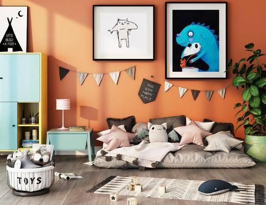 沙发组合, 墙饰, 边柜, 装饰, 植物