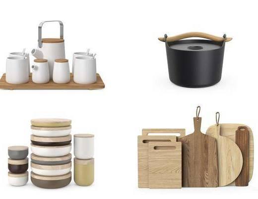 厨房厨具, 菜板茶壶, 碗, 现代