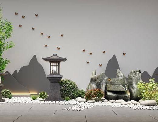 新中式假石, 新中式庭院, 新中式石灯