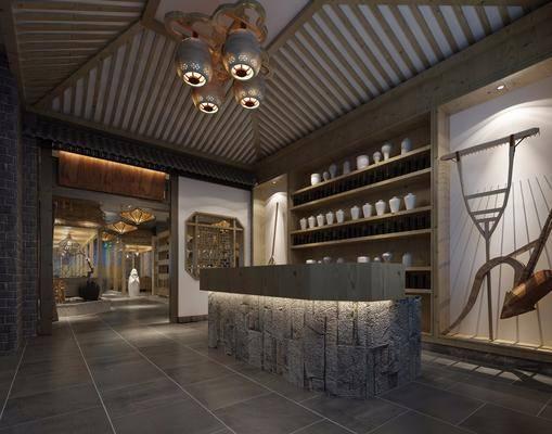 主题餐厅, 吊灯, 摆件, 装饰品, 陈设品, 日式