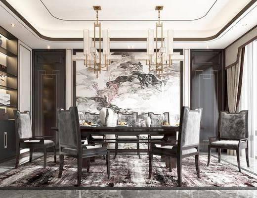 餐椅, 吊灯, 挂画, 书柜, 餐具, 装饰品